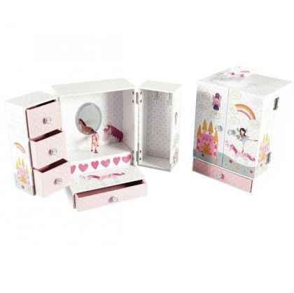 MUSICAL JEWELLERY WARDRODE WITH 4 DRAWERS FAIRY UNICORN