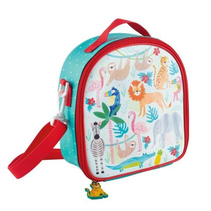 LUNCH BAG WITH DETACHABLE STRAP AND BOTTLE HOLDER - JUNGLE